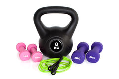 Gym workout equipment isolated on white background Stock Photo