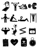 Gym workout fitness icons set. Gym workout fitness  icons set in black Stock Photography