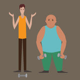 Gym workout flat illustration.  Athlete bodybuilder and slim boy are working out. Royalty Free Stock Images