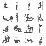 Gym Workout People Flat. Gym workout black people silhouettes flat set isolated vector illustration royalty free illustration