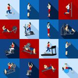 Gym Workout People Flat Set. People fitness workout in gym flat long shadow icons set isolated vector illustration royalty free illustration