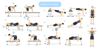Gym workout set. Gym workout set on white background. Man showing exercises. Cardio and weights. Dumbbels Stock Image