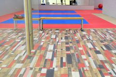 Gym for wrestling. Soft flooring for training priemov. royalty free stock images