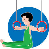 Gymastics Boy on Rings Royalty Free Stock Images