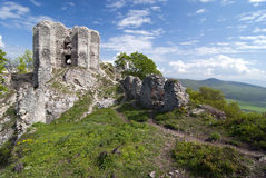 Gymes castle. Ruin of Gymes castle and surrounding countryside Royalty Free Stock Photo
