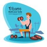 Gymnase de séance d'entraînement d'exercice de Barbell d'homme de forme physique de sport Illustration Stock