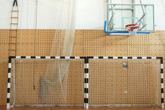 Gymnasium. With basket and two goals royalty free stock images