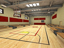 Gymnasium Basketball Court Royalty Free Stock Photography