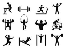 Gymnasium and Body Building icons. Isolated Gymnasium and Body Building icons from white background Stock Image