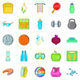 Gymnasium icons set, cartoon style. Gymnasium icons set. Cartoon set of 25 gymnasium vector icons for web isolated on white background Royalty Free Stock Photography