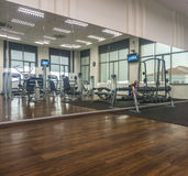 Gymnasium. Sport building room interior with timber floor Royalty Free Stock Photos