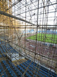 Gymnasium under construction with complicated scaffold Stock Image