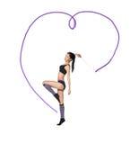 Gymnast με την κορδέλλα στοκ εικόνες με δικαίωμα ελεύθερης χρήσης