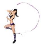 Gymnast με την κορδέλλα Στοκ Εικόνες