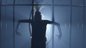 Gymnast που οδηγά μια στεφάνη σε ένα κλουβί στο σκοτεινό στάδιο μεγάλα αντικείμενα ελέγχων ιστορικού περισσότερο ο άλλος παρόμοιο απόθεμα βίντεο