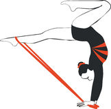 Gymnast. Silhouette in color 03 royalty free illustration
