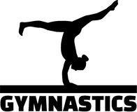 Gymnast at balance beam. Gymnastics word with gymnast at balance beam Royalty Free Stock Photo
