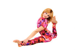 Gymnast in the bright stage costume Stock Photos