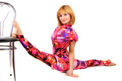 Gymnast in the bright stage costume Stock Photo