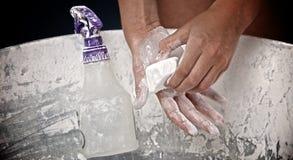 Gymnast Chalking Hands Stock Photo
