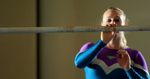 Gymnast checking a pole stock video footage
