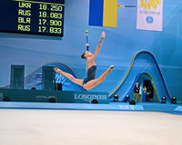 Gymnast with clubs, Rhythmic Gymnastics World Cham Stock Image