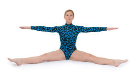 Gymnast, der eine Spalte tut Lizenzfreies Stockbild