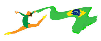 Gymnast girl. With Brazilian flag on white background. Isolated illustration. Gymnastic rhythmic. Artistic gymnastic. Ribbon gymnastics silhouette. Gymnastic Stock Photos