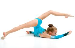 Gymnast girl in flexible back pose Royalty Free Stock Photo