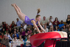 Gymnast Girl Jump Flight Focus Royalty Free Stock Images