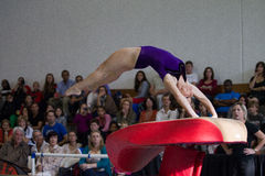 Gymnast Girl Jump Flight Vault  Stock Image