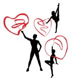 Gymnast Girl with Love Ribbon Silhouettes. Art vector design Stock Photos