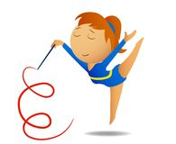 Gymnast girl with ribbon Royalty Free Stock Images