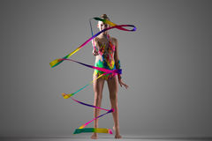Gymnast girl with ribbon Royalty Free Stock Photography