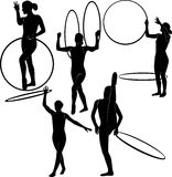 Gymnast with a hoop stock illustration
