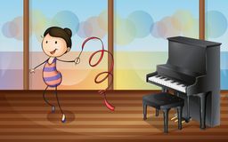 A gymnast inside the music room. Illustration of a gymnast inside the music room Stock Photos