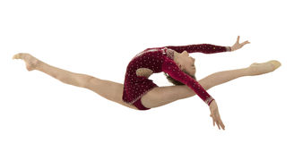 Gymnast jumping in the splits Royalty Free Stock Photo