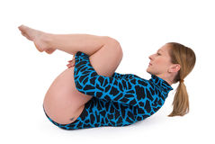 Gymnast lying on floor Stock Images