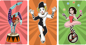 Gymnast mime clown and juggler circus characters. Set of Gymnast mime clown and juggler circus characters cartoon style Stock Photo