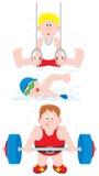 Gymnast, nuotatore, weightlifter Fotografia Stock