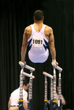 Gymnast on parallel bars. Gymnast competing on parallel bars Stock Photos