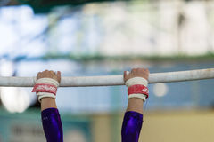 Gymnast Parallel Bars Hands Straps Stock Images