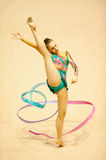 Gymnast performs at Irina Deleanu Orange Trophy Royalty Free Stock Photography