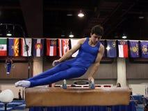 Gymnast on pommel stock photos