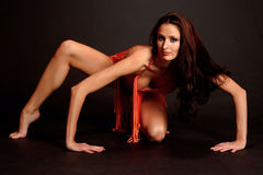 Gymnast in red Stock Photos