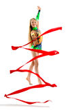 Gymnast with ribbon. Beautiful little gymnast with ribbon isolated on white Royalty Free Stock Photos