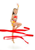Gymnast with ribbon Royalty Free Stock Image