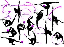 Gymnast's silhouettes. Vector set of 12 gymnast's silhouettes Royalty Free Illustration