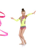 Gymnast shows exercises with ribbon Royalty Free Stock Photo