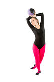 Gymnast in sports swimsuit makes exercise Royalty Free Stock Photos